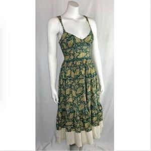 Free People Green Floral Peasant Dress Racerback
